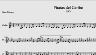 Partitura para Violín de Piratas del Caribe por Hans Zimmer en Re menor. Partituras de Bandas Sonoras