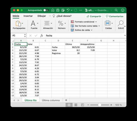 Obtener el último valor de una columna en Excel