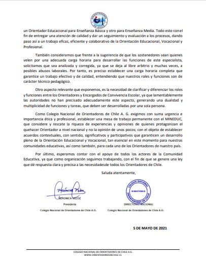 Hoy compartimos la Declaración Pública del Colegio Nacional de Orientadores de Chile A.G.