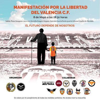 Esta tarde, el valencianismo se manifiesta por la libertad para el Valencia CF.