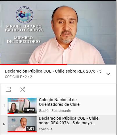 Se comparte video del Colegio Nacional de Orientadores, en relación a aspectos de la nueva Resolución Exenta N° 2076 y las implicancias.