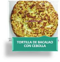TORTILLA DE BACALAO CON CEBOLLA Y AJO