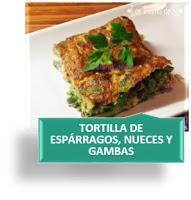 TORTILLA DE ESPÁRRAGOS, NUECES Y GAMBAS