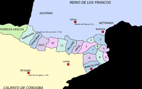 marca hispánica condados cristianos pirineos catalanes pamplona imperio carolingio
