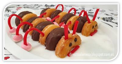 Tarta gusano de donuts