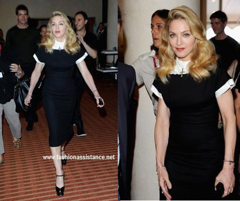 Madonna sorprende en el Festival de Venecia con sus looks sobrios y recatados. W.E. premiere