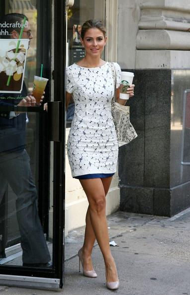 Maria Menounos Maria Menounos heads to Starbucks for her morning drink .