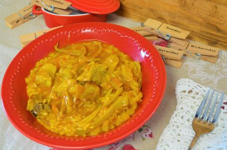 Las delicias de Mayte, recetas saludables, recetas,receta, arroz con costillas, arroz recetas, arroz con costillas y setas, arroz con setas, recetas de cocina, recetas de arroz, arroz con verduras,