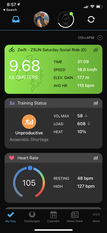 Garmin Training Status Now Includes Zwift, TrainerRoad, The Sufferfest and Tacx App Workouts