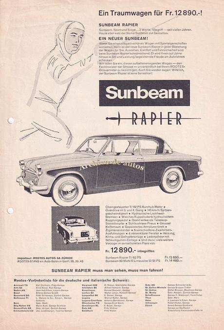 Sunbeam Rapier del año 1956 comercializado en Suiza