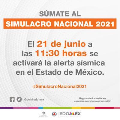 ANUNCIA EDOMÉX  SIMULACRO NACIONAL 2021 EL PRÓXIMO 21 DE JUNIO