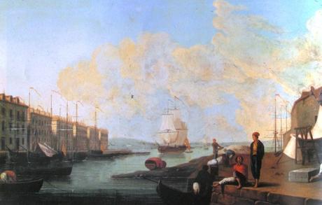 Pintura del puerto de Santander de Mariano Ramón Sánchez encargado por el rey Carlos IV hacía 1793