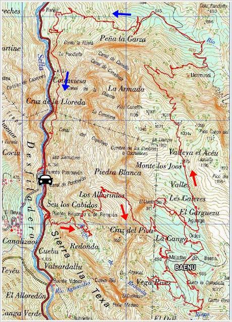 El Seu la Cruz del Picu-Baenu-El Camín del Carbón-El Camín de la Lloreda