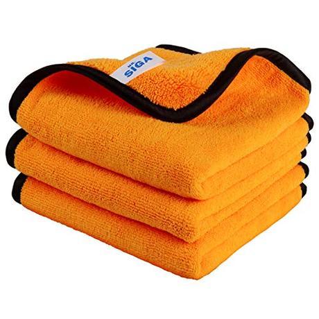 MR.SIGA Paños de microfibra para la limpieza del hogar y el automóvil, paños de pulido para el mantenimiento profesional del automóvil en 15.7 x 23.6 pulgadas, 3 unidades