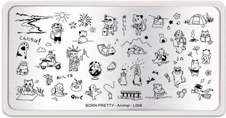 Gatito fotógrafo. Placa Animal L006 de Born Pretty Store