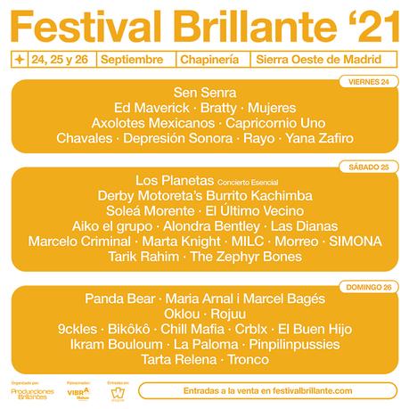 Cartel por días del Festival Brillante 2021