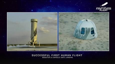 Blue Origin completa con éxito su primer vuelo espacial tripulado