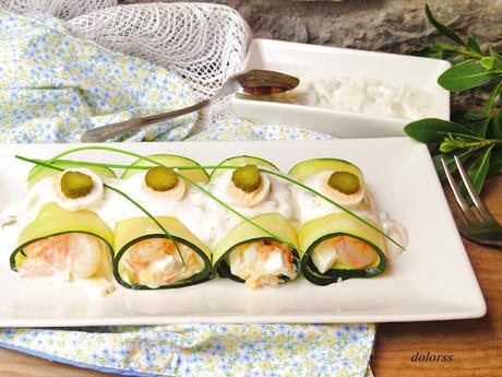 Canelones fríos de calabacín  con salsa tártara