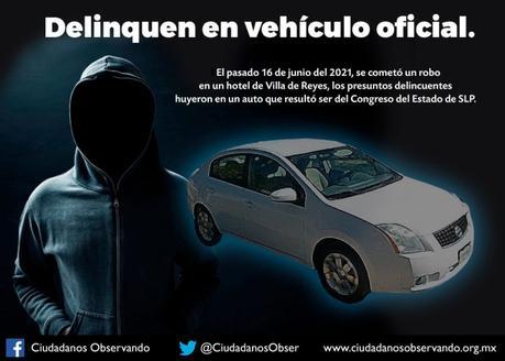 Usan auto del Congreso para robar hotel en Villa de Reyes