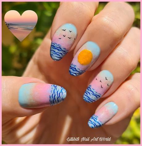 Reto Las locas del Nail Art julio 2021: Atardecer en la playa