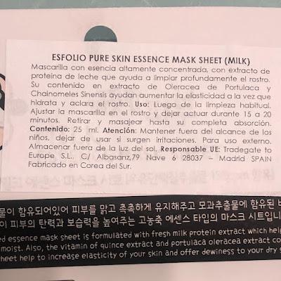 🐮Mascarilla Pure Skin Milk Essence Mask Sheet. Esfolio 🐮 Viernes de Spa 🐮
