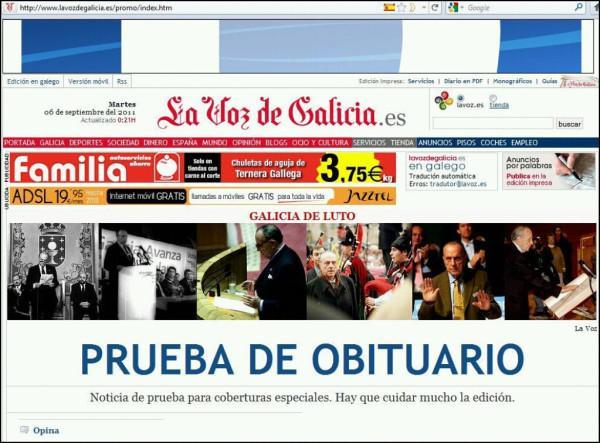 391094713 La Voz de Galicia y el obituario de Manuel Fraga