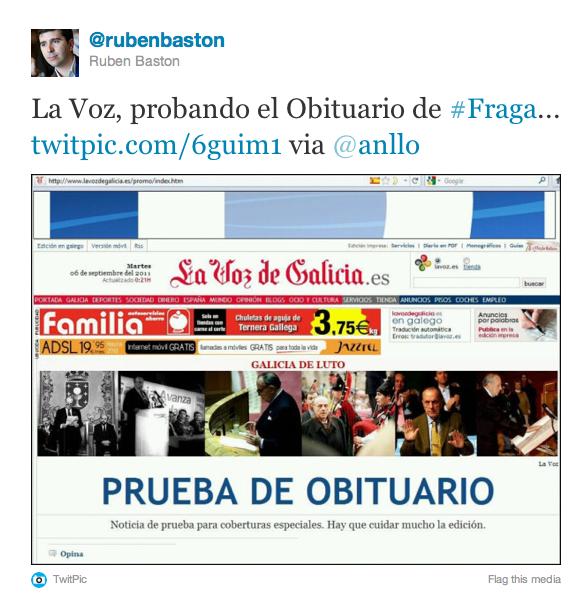 twit 1 La Voz de Galicia y el obituario de Manuel Fraga