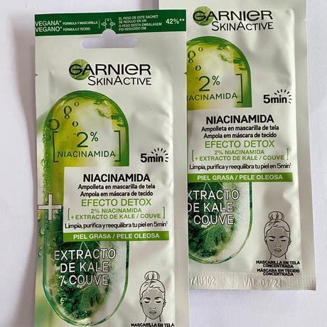 Nuevas mascarillas de Garnier con Niacinamida, Vitamina C y Ácido Hialurónico.