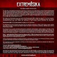 Comunicado aplazamiento Extremúsica al 2022