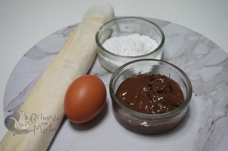 Ensaimadas de hojaldre rellenas de Nutella