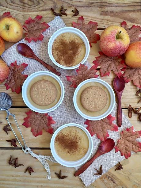 Natillas de manzana. Postre de otoño, aprovechamiento, fácil, tradicional, canela, rico, sin horno Cuca