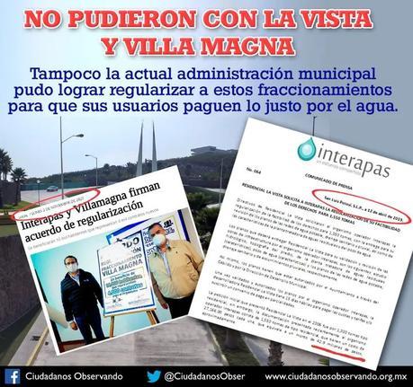 Ayuntamiento no pudo cobrar el agua a La Vista y Villa Magna