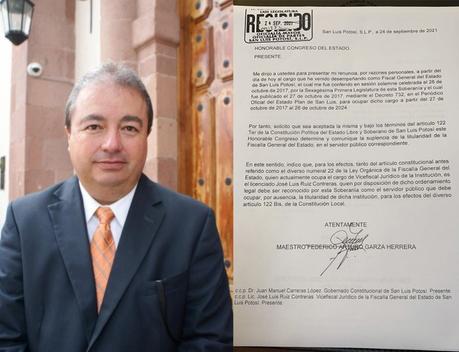 Renuncia el Fiscal General del Estado a su cargo