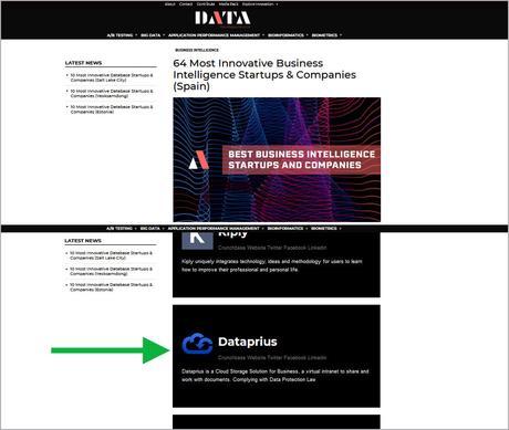 Dataprius reconocida como una de las 64 empresas más innovadoras.