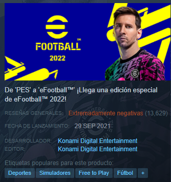 eFootball 2022, fallos y glitches empañan el reemplazo del PES en Steam