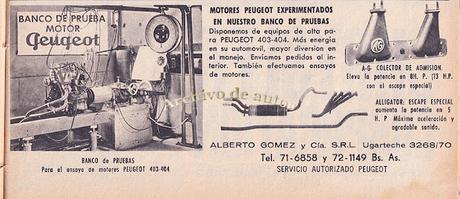 Alberto Gómez y sus mejoras para la marca Peugeot del año 1963