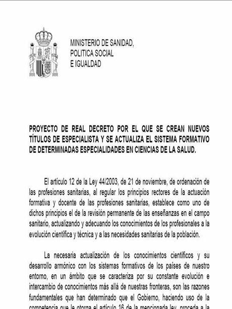 DECRETO DE ESPECIALIDAD DE URGENCIAS. ¿A LAS BARRICADAS?..LA HISTORIA CONTINUA