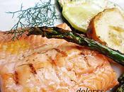 Salmón salvaje verduras brasa