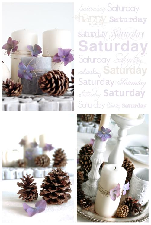 Un centro navide o con velas flores y pi as paperblog - Adornos para navidad con pinas ...