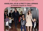 Angelina jolie luciendo pretty ballerinas aeropuerto tokyo, brad pitt familia