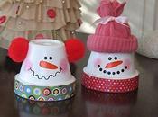 Decoración navideña macetas: muñecos nieve