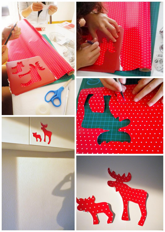 Mi casa en navidad los renos silueteados de papel de for Como adornar mi casa en navidad