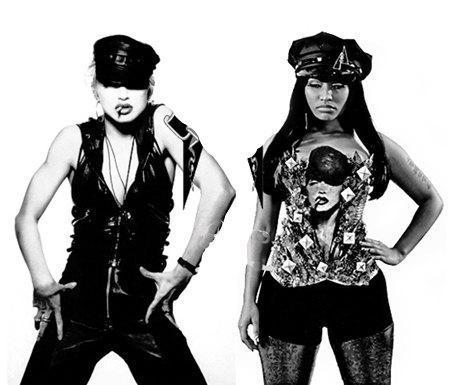 Beso de Madonna y Nicki Minaj durante la grabación del video de