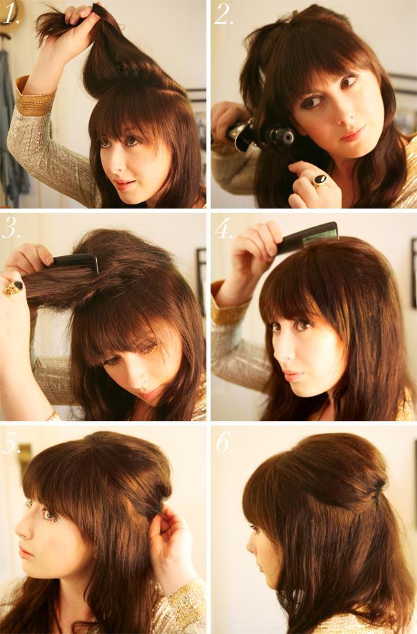 прически на каждый день для средних волос с челкой видео