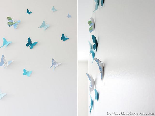 Mariposas hechas con mapas para decorar la pared paperblog - Como hacer mariposas de papel para decorar paredes ...