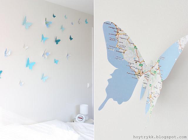 Mariposas hechas con mapas para decorar la pared paperblog - Mariposas para pared ...