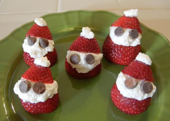 decoracion mesa navidad fresas papa noeles