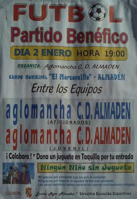 Hoy, partido de fútbol benéfico en Almadén