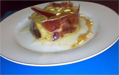Tartar de repollo al dulce de membrillo y piñones con jamón ibérico 5 Jotas