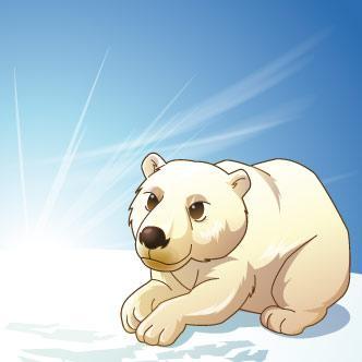 Oso polar tomando el sol